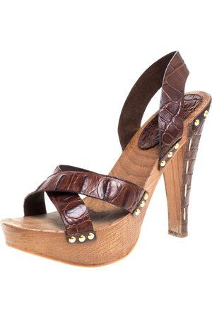 Miu Miu Brown Croc Embossed Leather Clog Platform Sandals Size 41