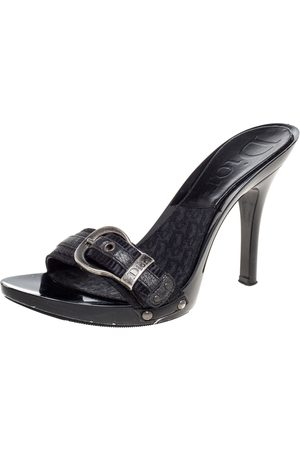 Dior Black Canvas And Leather Buckle Open Toe Sandals Size 37.5
