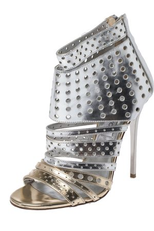 Jimmy Choo Silver Foil Leather Malika Perforated Sandals Size 38
