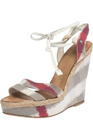 Burberry Multicolor Canvas and White Leather Ankle Wrap Platform Wedge Sandals Size 38