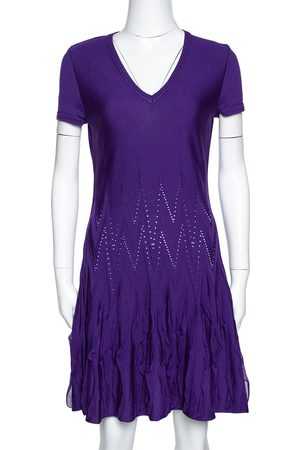 Roberto Cavalli Purple Textured Wool Knit Fit & Flare Dress M