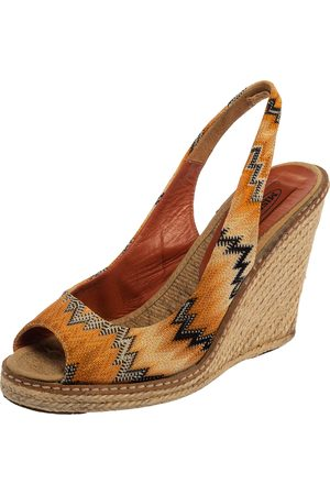 Missoni Orange/Black Knit Fabric Espadrille Wedge Slingback Sandals Size 39