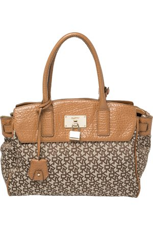 DKNY Beige/Brown Signature Canvas and Leather Heritage Lock Tote