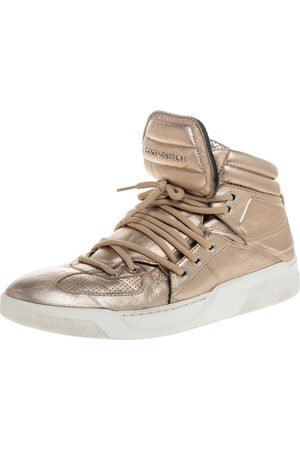 Dolce & Gabbana Metallic Gold Leather Flag High Top Sneakers Size 43