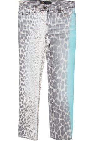 Roberto Cavalli Brown/Green Animal Print Light Wash Flared Bottom Jeans S
