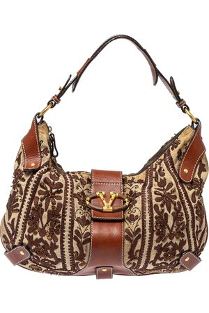 VALENTINO Beige/Brown Canvas And Leather Embroidered Hobo