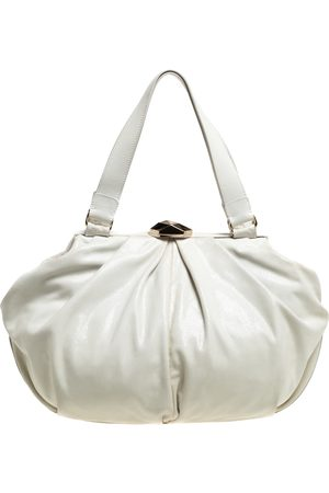 Escada White Crackled Patent Leather Frame Hobo