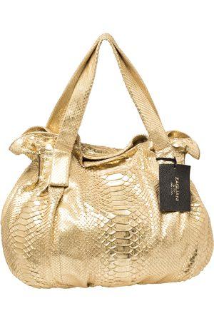 ZAGLIANI Gold Metallic Python Pleated Shoulder Bag
