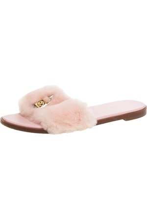 LOUIS VUITTON Pink Mink Fur Lock It Flat Slides Size 38.5