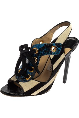 Jimmy Choo Monochrome Calf Hair And Two Tone Python Lace Up Sandals Size 39