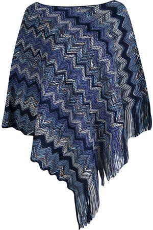 Missoni Navy Blue Chevron Pattern Chunky Knit Fringed Edge Poncho M
