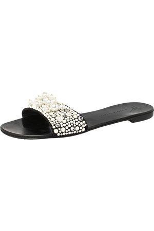Giuseppe Zanotti Black Suede Pearl Embellished Flat Slides Size 38
