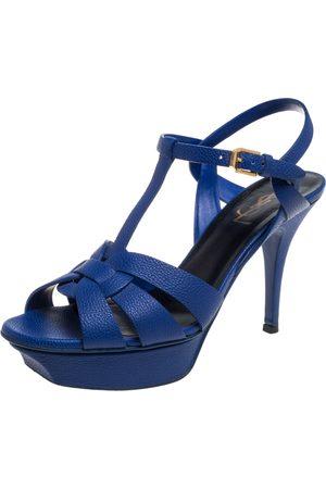 Saint Laurent Saint Laurent Electric Blue Textured Leather Tribute Platform Sandals Size 38.5