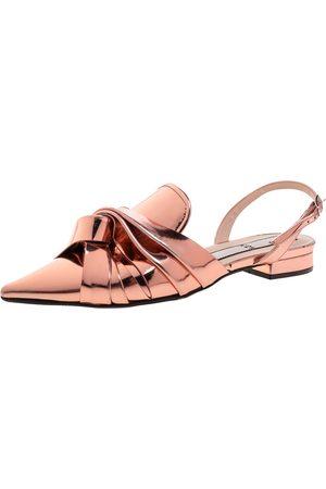 Nº21 Metallic Bronze Leather Knotted Toe Slingback Flat Sandals Size 40