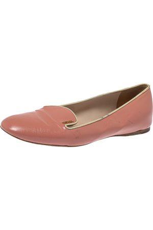 Prada Pink Patent Saffiano Leather Smoking Slippers Size 40.5