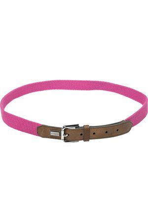 Dolce & Gabbana Pink/Brown Canvas and Leather Belt 115 CM