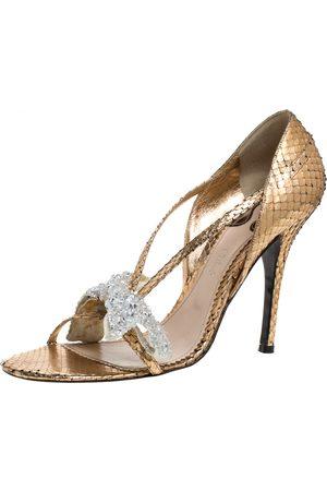 Chloé Metallic Gold Python Leather Embellished Bow Sandals Size 39.5