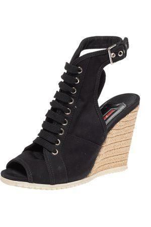 Prada Black Canvas Lace Up Slingback Espadrille Wedge Boots Size 38.5