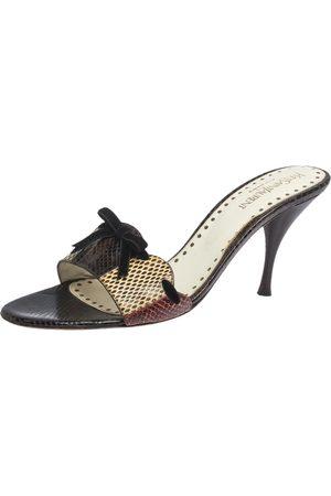 Saint Laurent Saint Laurent Multicolor Snakeskin Bow Slide Sandals Size 40.5