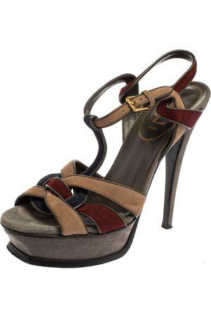 Saint Laurent Saint Laurent Multicolor Suede Tribute Platform Ankle Strap Sandals Size 38