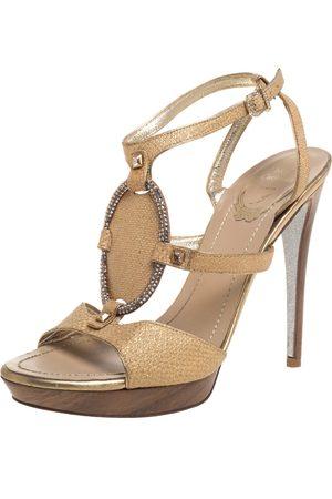 RENÉ CAOVILLA Beige Glitter Cork Embellished Ankle Strap Sandals Size 38