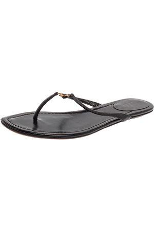 Gucci Black Leather Interlocking GG Thong Sandals Size 38