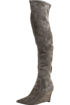 Sergio Rossi Grey Suede Over The Knee Wedge Boots Size 37.5