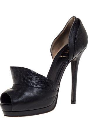 Fendi Black Leather And Lizard Print Anemone D'orsay Peep Toe Platform Pumps Size 38.5