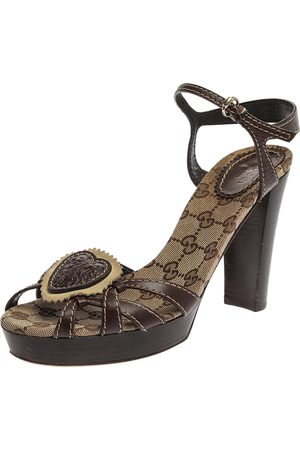 Gucci Brown GG Canvas and Leather Hysteria Ankle Strap Platform Sandals Size 39