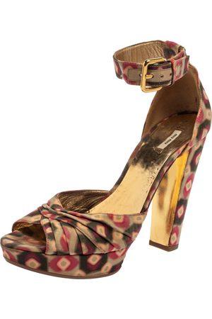 Miu Miu Multicolor Printed Fabric Ankle Strap Sandals Size 38.5