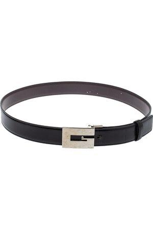 Gucci Black Leather Reversible Square G Belt Size 85