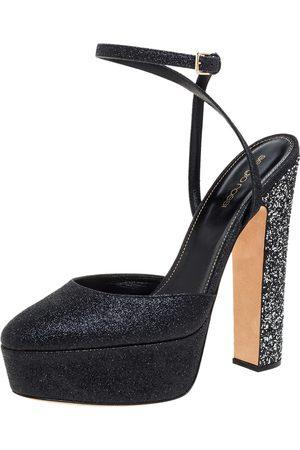 Sergio Rossi Black Coarse Glitter Freda Round Toe Sandals Size 39