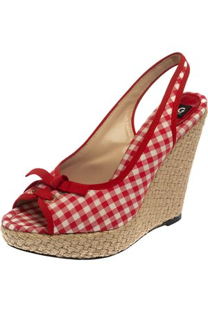 Dolce & Gabbana Red/White Check Fabric Wedge Slingback Sandals Size 40
