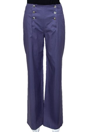Kenzo Purple Cotton Wide Leg Trousers M