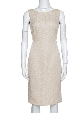 CH Carolina Herrera Beige Textured Sleeveless Sheath Dress S