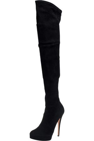 Casadei Black Suede Over Knee Boots Size 41