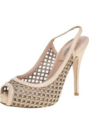 VALENTINO Beige Lattice Leather And Mesh Studded Slingback Platform Sandals Size 36