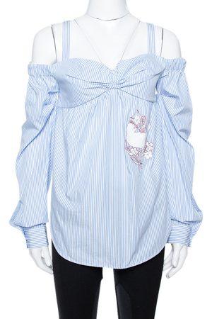 Nº21 Light Blue Striped Cotton Embroidered Off Shoulder Top S