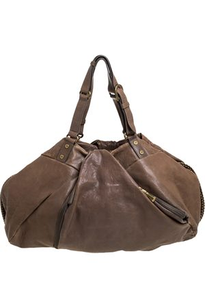 Diane von Furstenberg Brown Leather Belle Draped Wrap Shoulder Bag