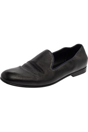 Armani Black Leather Smoking Slippers Size 45