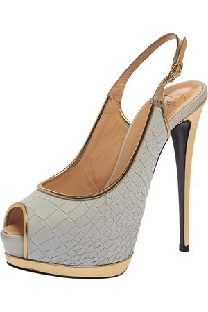 Giuseppe Zanotti White/Gold Croc Embossed Leather Peep Toe Platform Slingback Sandals Size 39