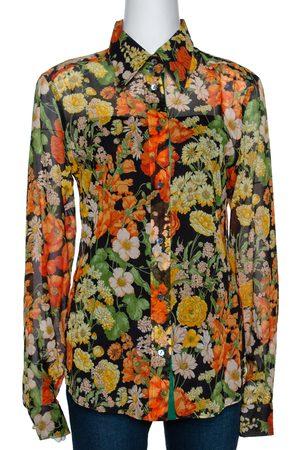Dolce & Gabbana Multicolor Floral Print Cotton Shirt L