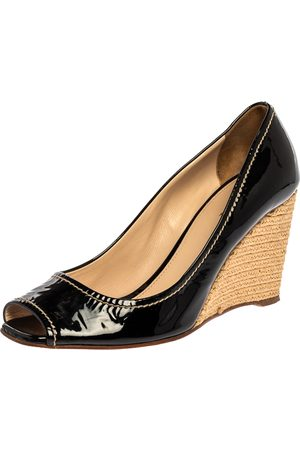Prada Black Patent Open Toe Espadrille Wedge Pumps Size 38.5