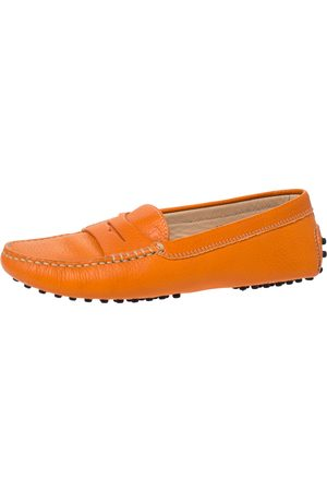 Tod's Orange Leather Penny Slip On Loafers Size 36.5