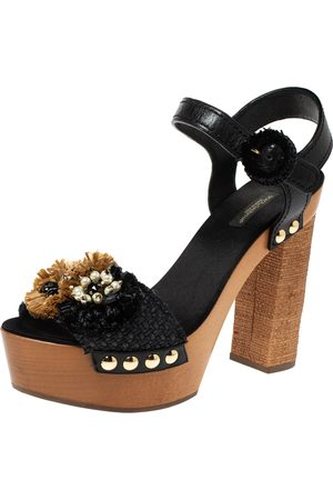 Dolce & Gabbana Women Sandals - Black/Brown Leather And Raffia Embellished Platform Ankle Strap Sandals Size 40