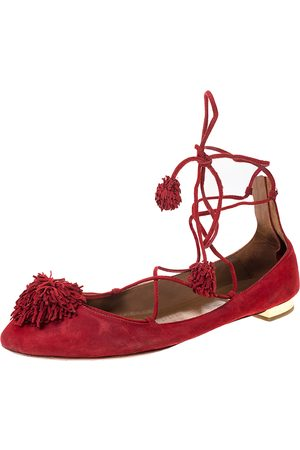 Aquazzura Aquaazzura Red Suede Leather Fringe Tassel Ankle Wrap Ballet Flats Size 40.5