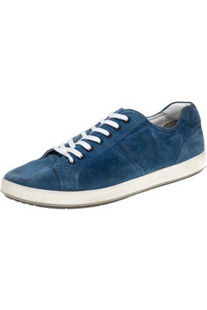 Prada Blue Suede Low Top Sneakers Size 46