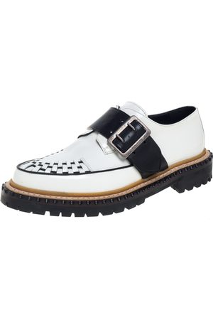 Burberry White Leather Mason Buckle Strap Platform Creepers Size 40