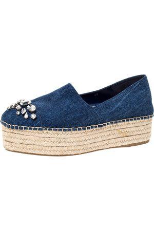 Miu Miu Blue Denim Fabric Crystal Embellished Platform Espadrilles Flats Size 40