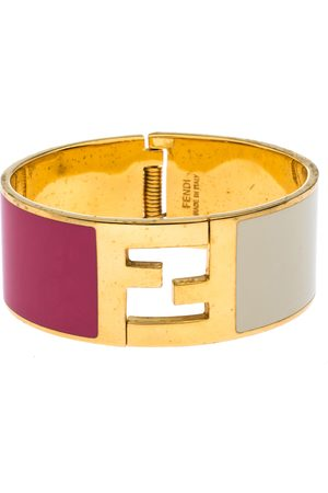 Fendi Sta Bi-color Enamel Gold Tone Wide Bracelet S